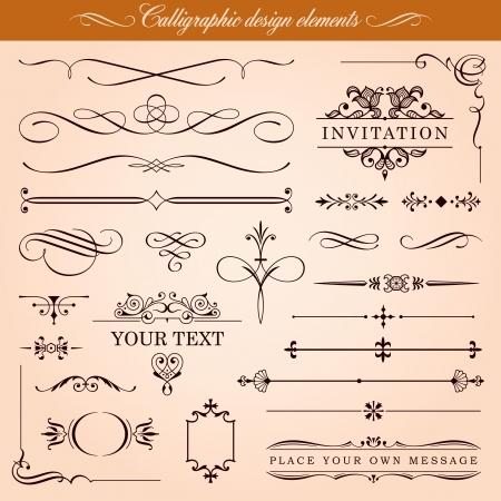Elementos Caligrafía Diseño y Decoración página Ilustración de vector
