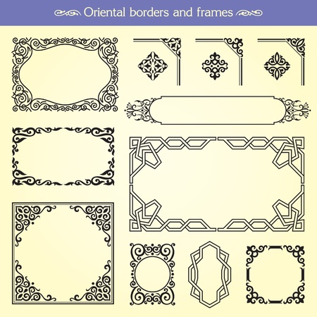 Oriental Asian Borders And Frames Illustration