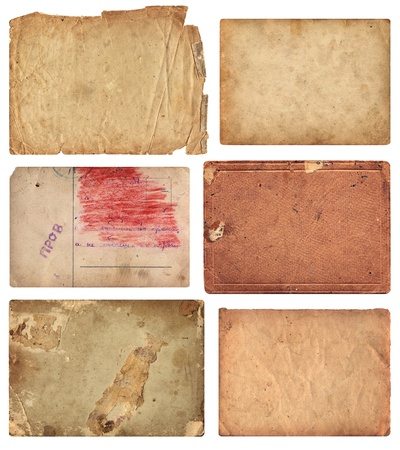 Set of six aged paper pieces with grunge textures. Comes on white background Stock Photo