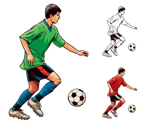 Young soccer football player in motion. Vector illustration Illustration