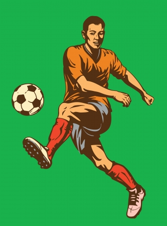 goal kick: Soccer football player. Vector illustration Illustration