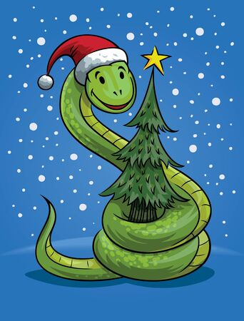 snake year: Snake with Christmas hat and tree, the symbol of New Year Illustration