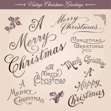 Set of vintage Christmas greetings, calligraphic lettering, vector