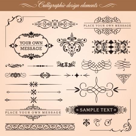 Set van kalligrafische ontwerpelementen en pagina decoratie Stock Illustratie