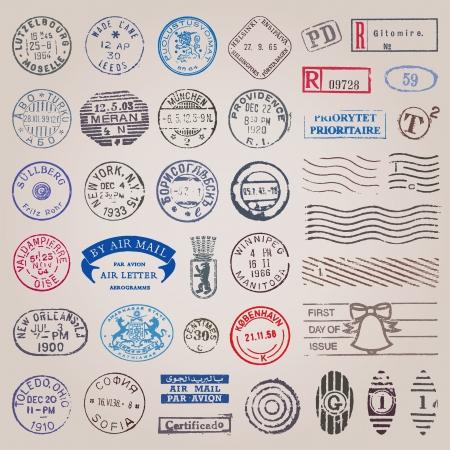 post stamp: Vector set di 39 francobolli d'epoca provenienti da paesi di tutto il mondo