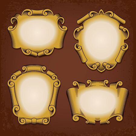 Set of vintage vector frames cartouches scrolls Illustration