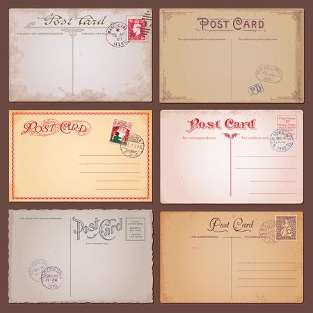 Vector set van vintage ansichtkaarten met postzegels Stock Illustratie