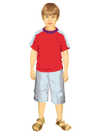 Full Length Portrait Of A Little Boy Standing Vector Illustration