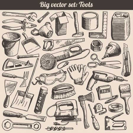 hand shovel: Doodles Collection Of Working Tools Instruments Vector