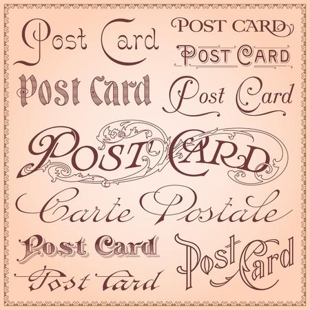 Vintage postcard lettering Stock Vector - 18358379