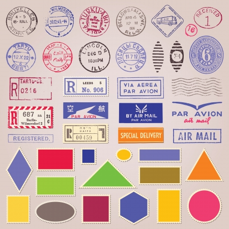 collectibles: Set of vintage postage stamps, stickers and blank design elements Illustration