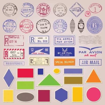 Set van vintage postzegels, stickers en blanco ontwerpelementen