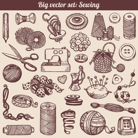 maquina de coser: Costura y costura Doodles Collection