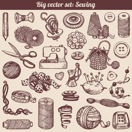 sewing machine: Sewing And Needlework Doodles Collection  Illustration