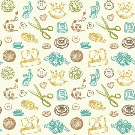 sew: Naaien En Handwerk Doodles Naadloze Patroon Vector Stock Illustratie