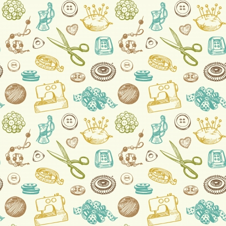 Sewing And Needlework Doodles Seamless Pattern Vector Illustration