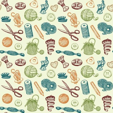 Naaien En Handwerk Doodles Naadloze Patroon