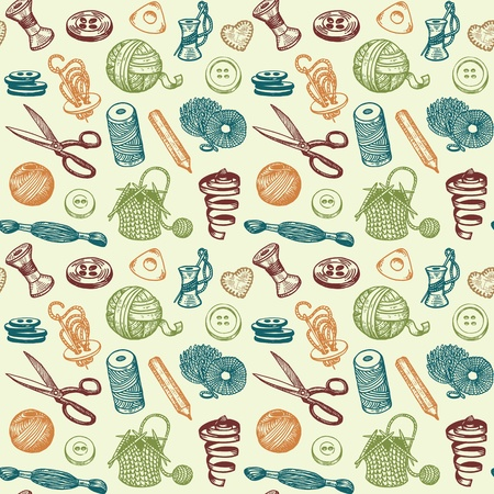Sewing And Needlework Doodles Seamless Pattern  Illustration