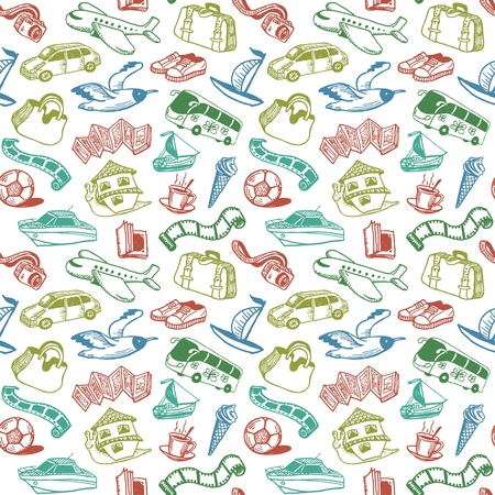 birds in flight: Travel And Rest Doodles Seamless Pattern Vector