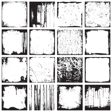 Set Of Grunge Square Backgrounds And Frames Vector