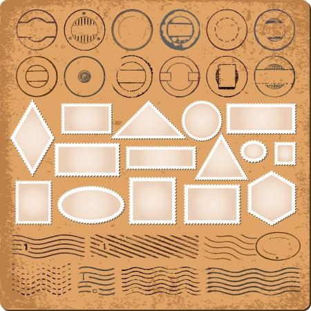 timbre postal: Fronteras en blanco y grunge sellos de goma
