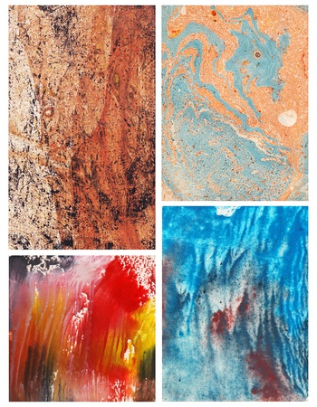 Set of handmade abstract color backgrounds Stock Photo