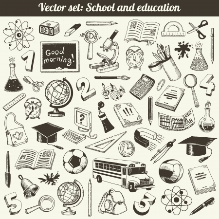School And Education Doodles Collection  Illustration