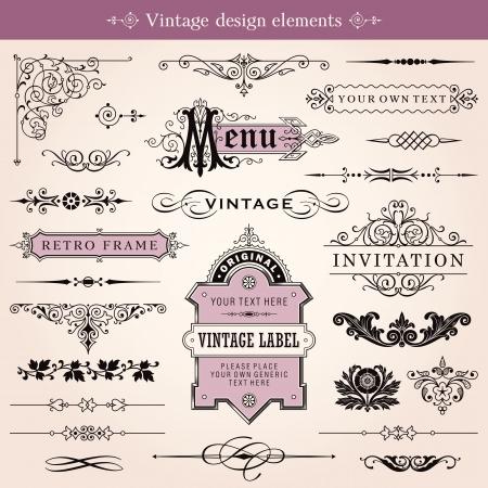 ビンテージ装飾的デザイン要素やページ装飾  イラスト・ベクター素材