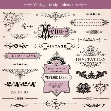victorian style: Vintage Calligraphic Design Elements And Page Decoration