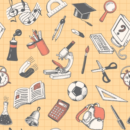 School And Education Seamless Pattern Doodles