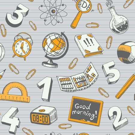 School And Education Seamless Pattern Doodles Vector
