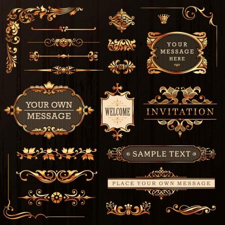 Golden vintage calligraphiques éléments de conception et décoration de la Page vectorielle