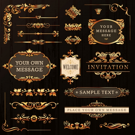 Poca de oro de diseño caligráfico y decoración de página Elementos vectoriales Foto de archivo - 20775908
