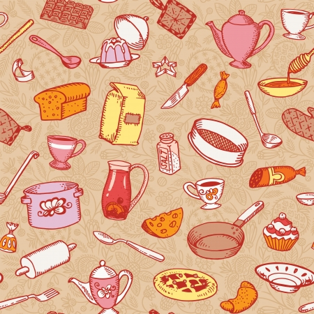 Kitchen And Cooking Seamless Pattern Vector Illustration