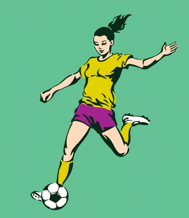 Soccer Football Female Player Vector Vector
