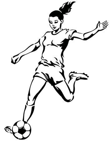축구 축구 여자 선수 벡터