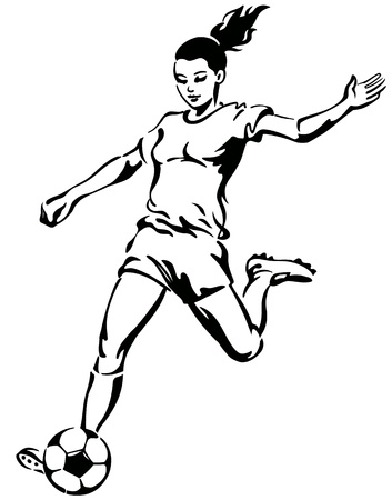 girl kick: Soccer Football Female Player Vector