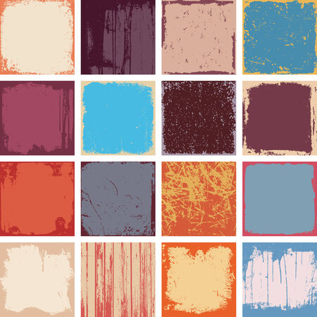 grunge textures: Set Of Grunge Square Background Textures Vector