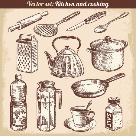 cup of tea: Kitchen And Cooking Set Vector