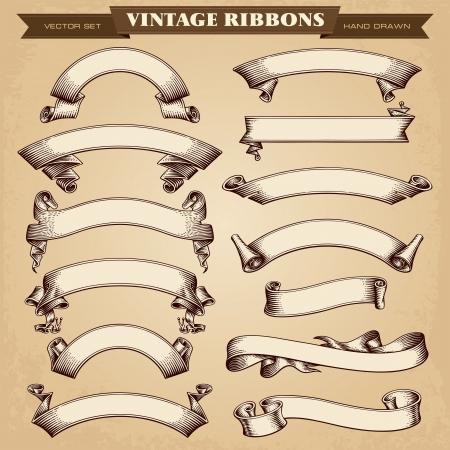 Bannières ruban Vintage Vector Collection Banque d'images - 24796820