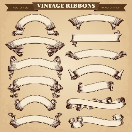 Vintage Ribbon Banners Vector Collection Фото со стока - 24796820