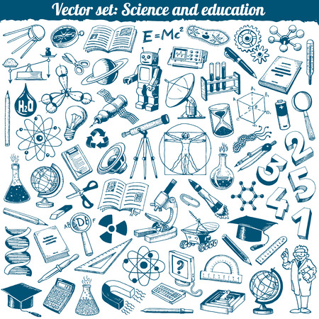 computer education: Science And Education Doodles Icons Vector Set