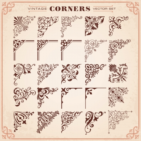 Vintage Design Elements Corners Vector Stok Fotoğraf - 25307925