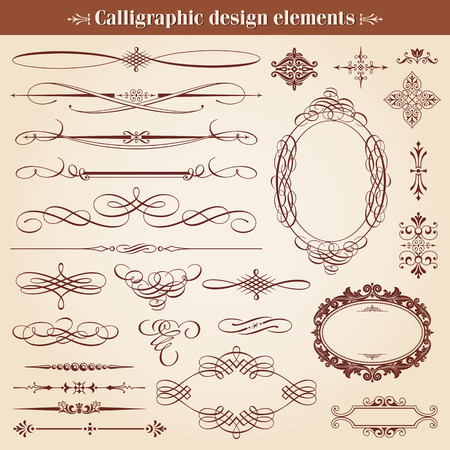 Vintage Calligraphic Design Elements And Page Decoration Vector