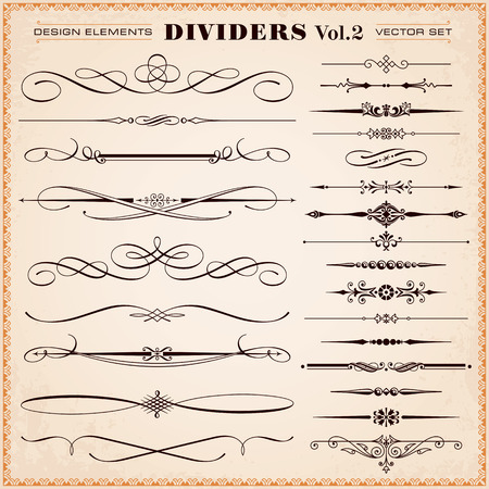 dividers: Set of vector vintage calligraphic design elements and page decoration, dividers and dashes