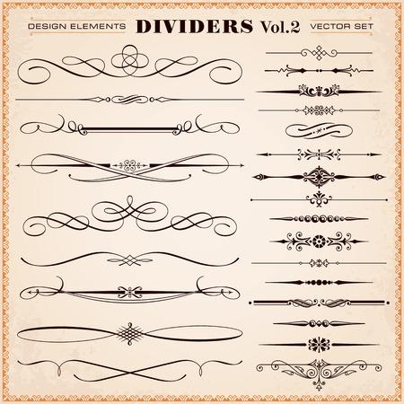 Set van vector vintage kalligrafische ontwerpelementen en pagina decoratie, verdelers en streepjes