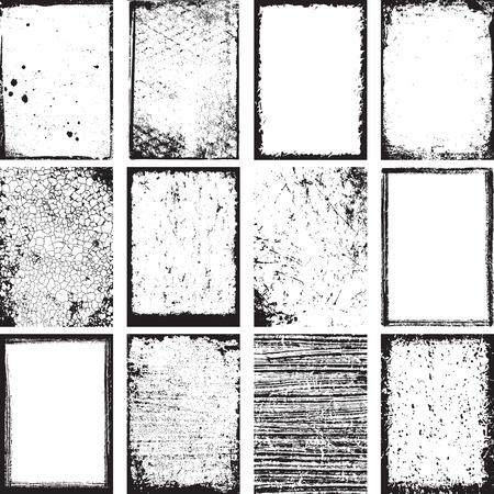 Set Of Grunge Backgrounds And Frames Vector