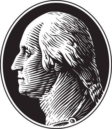 Portret van George Washington Vintage Gravure Stijl