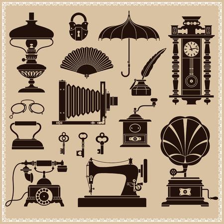ビンテージ カゲロウと古い時代のオブジェクトのデザイン要素  イラスト・ベクター素材
