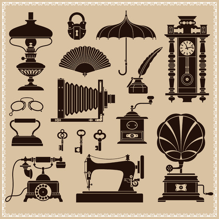 Ontwerp Elementen van Vintage Ephemera en voorwerpen met een Oude Tijd Stock Illustratie